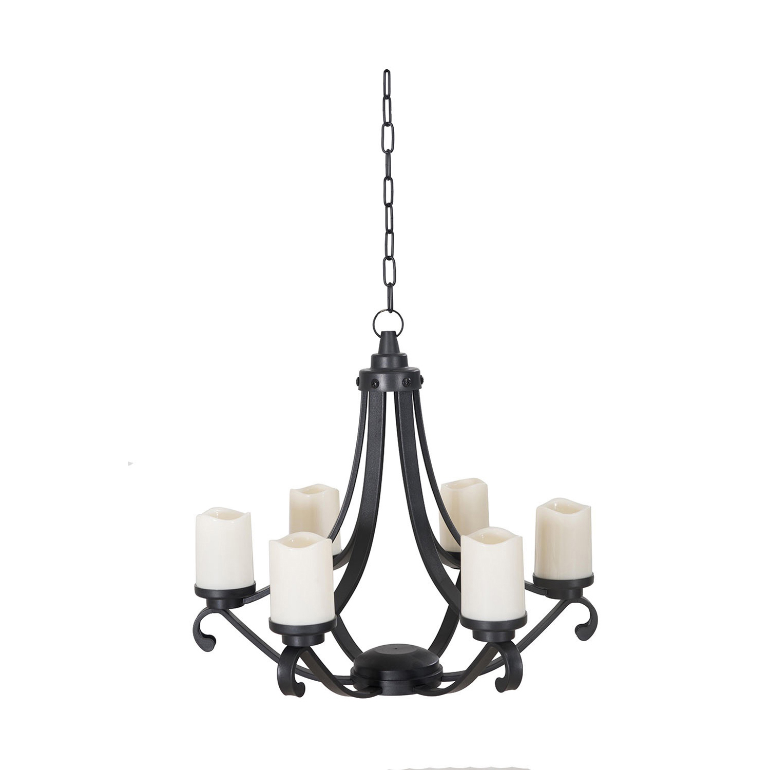 Black LED Outdoor Chandelier with Battery