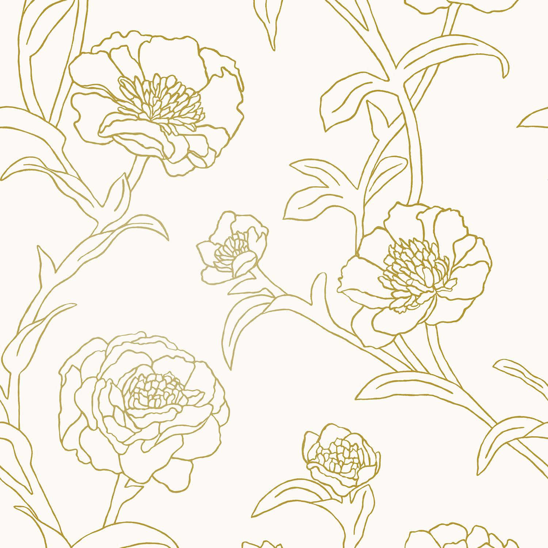 Tempaper® Peonies Gold Leaf Self-Adhesive Wallpaper