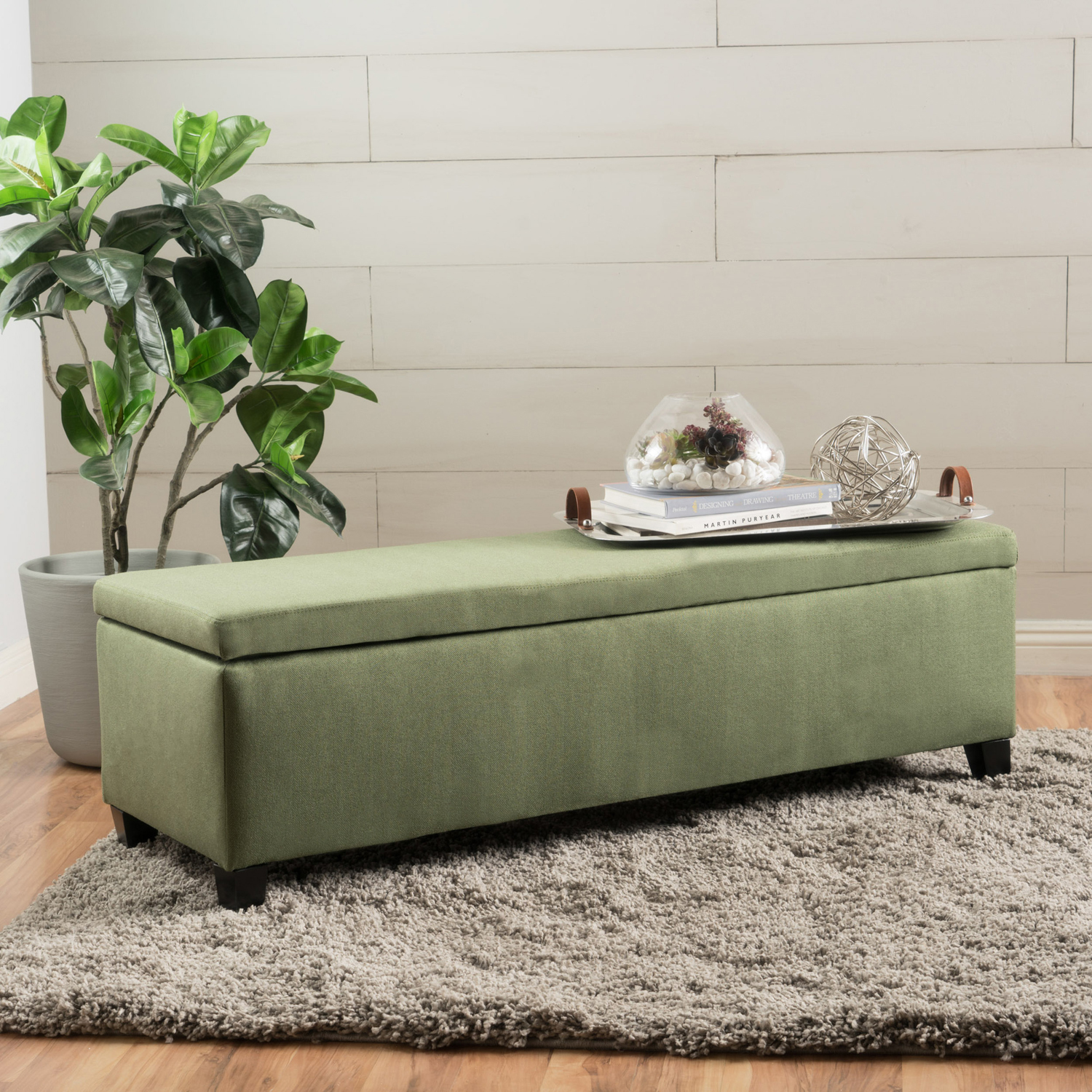 Gable Moss Fabric Storage Ottoman