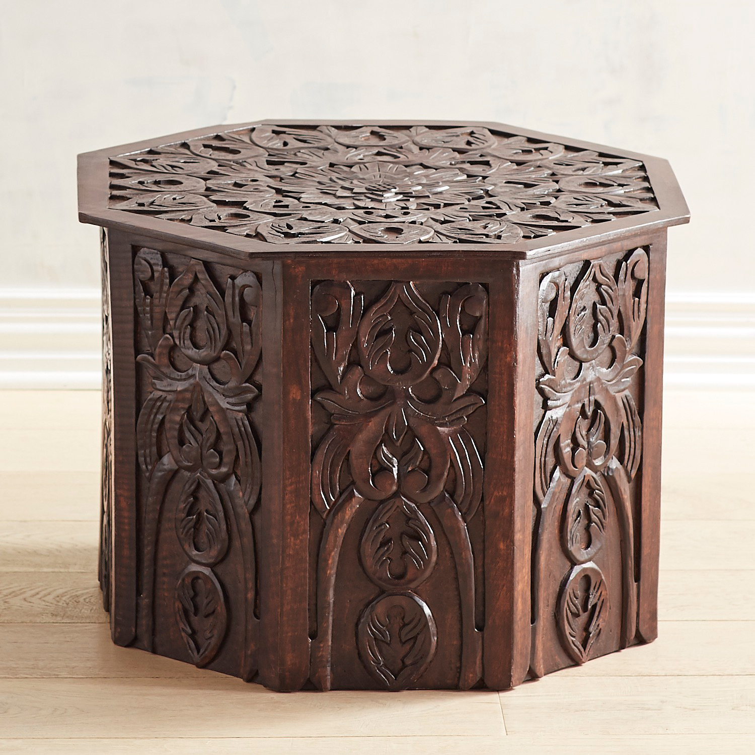 Hand-Carved Mango Wood Accent Table