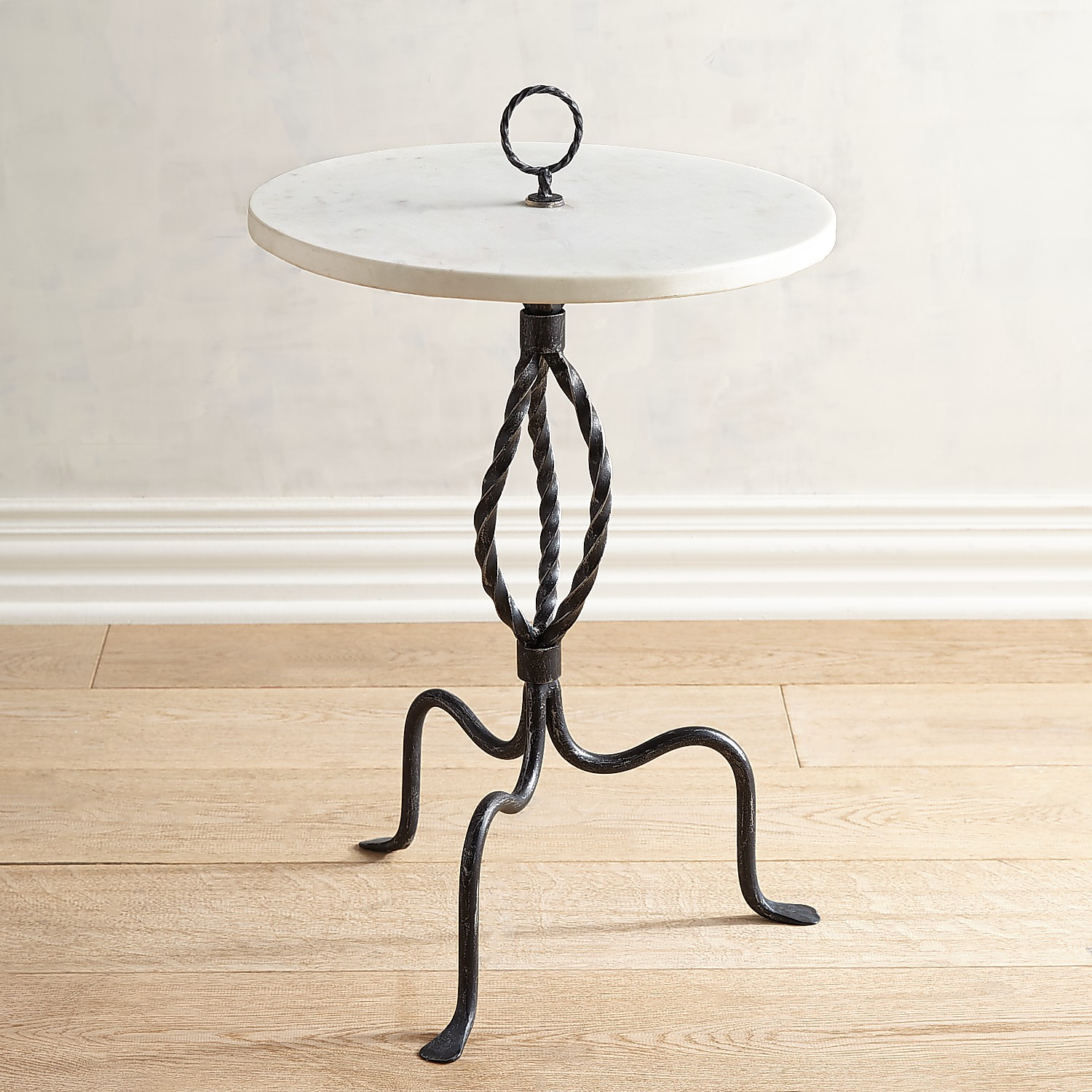 Round Side Table with Marble Top