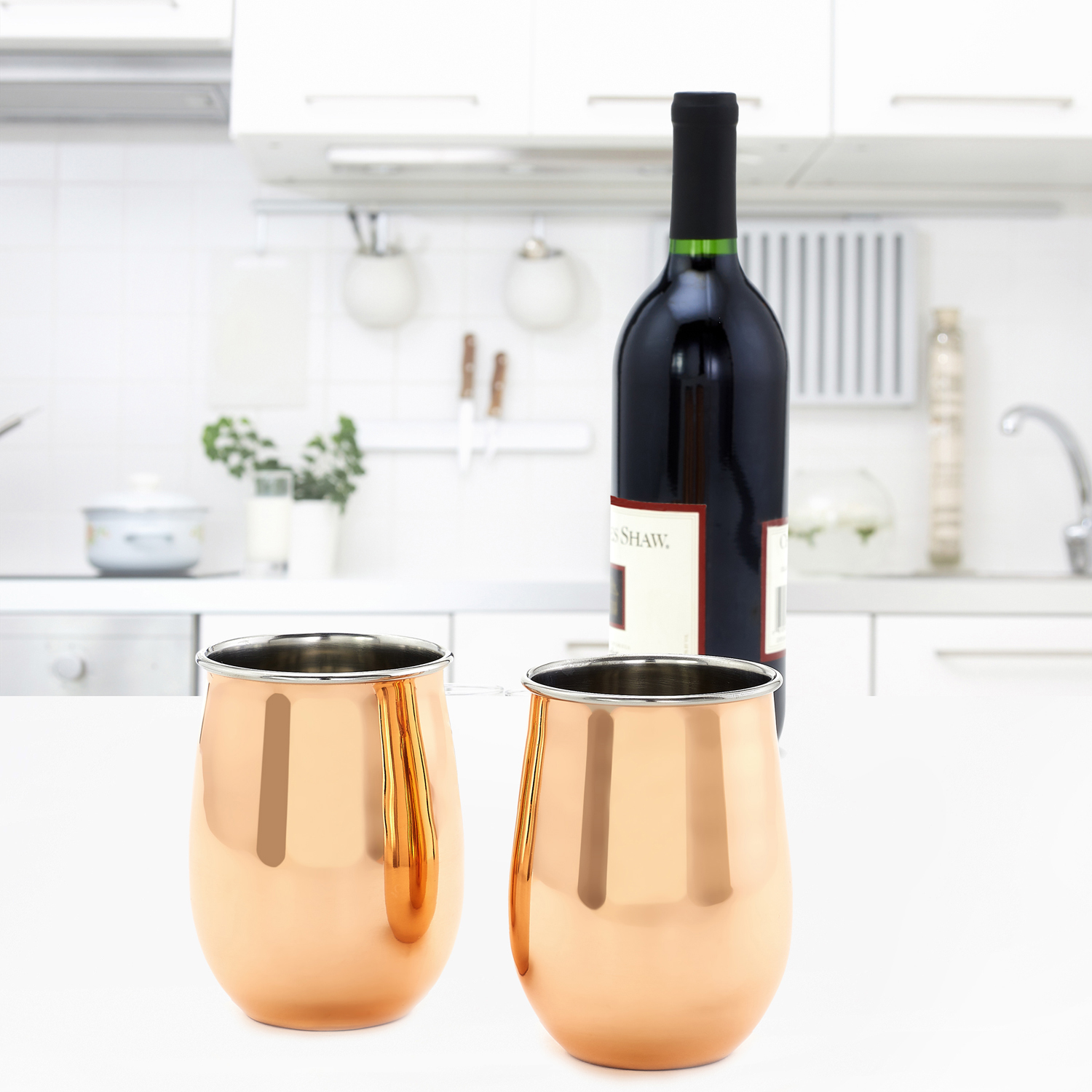 Solid Copper Stemless Wine Glasses, Set of 2