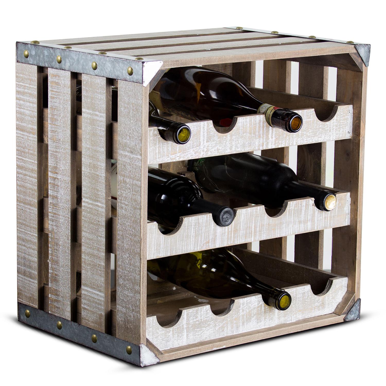 Vintage Farmhouse Crate 12-Bottle Wine Rack