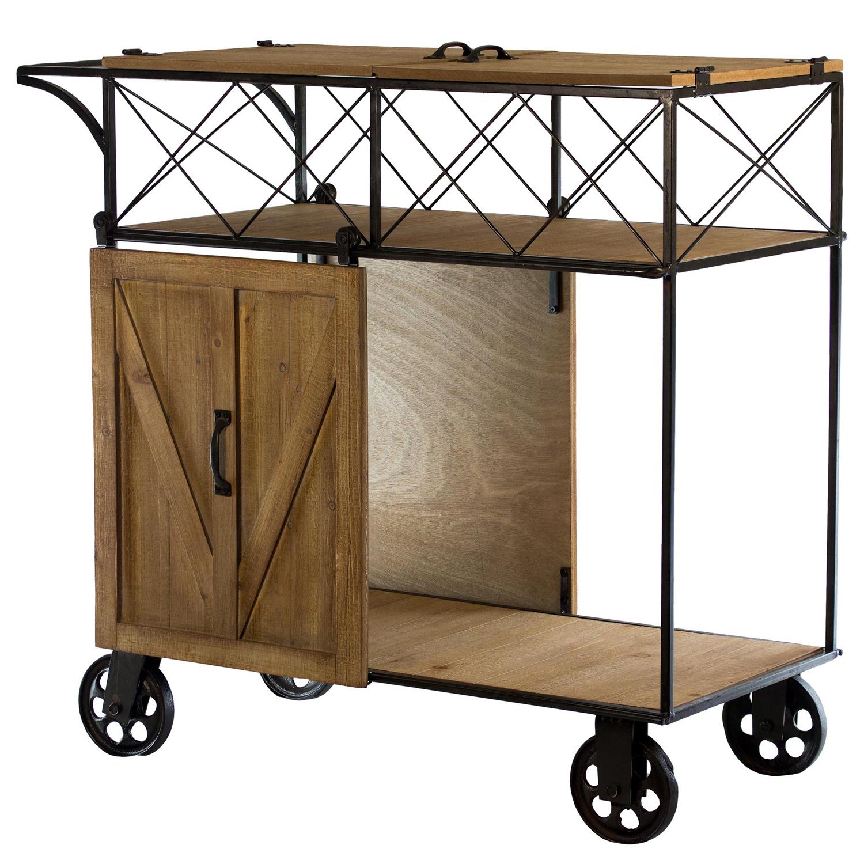 Rolling Bar Cart with Sliding Barn Door