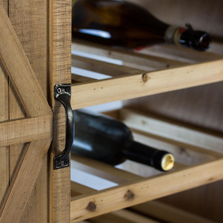 Rustic Wood Wine Cabinet with Sliding Barn Door