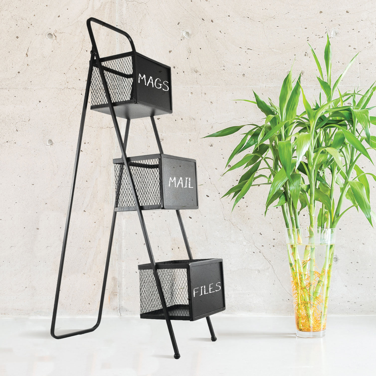 3-Tier Magazine Rack with Chalkboards