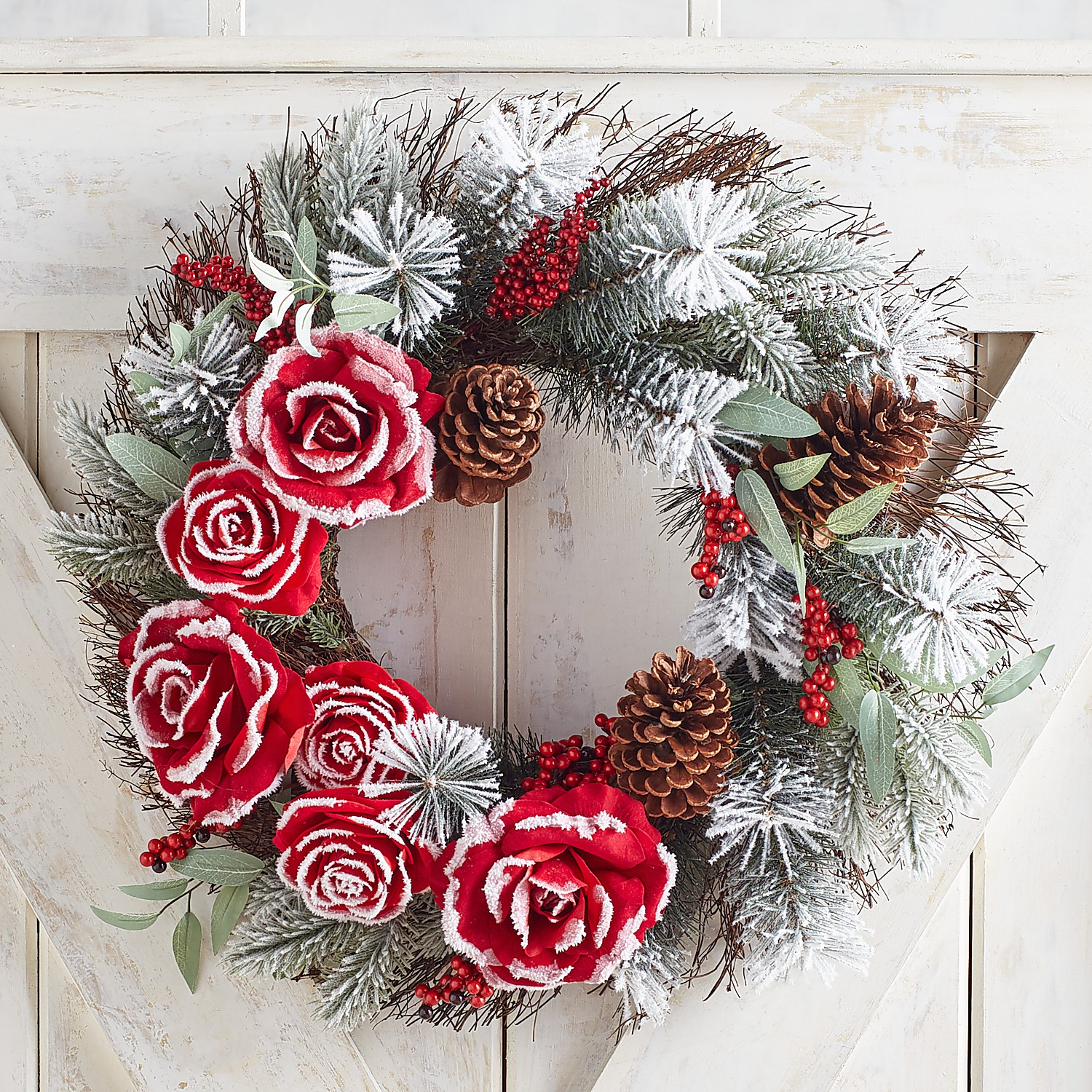 """22"""" Frosted Faux Red Rose & Pinecone Wreath"""