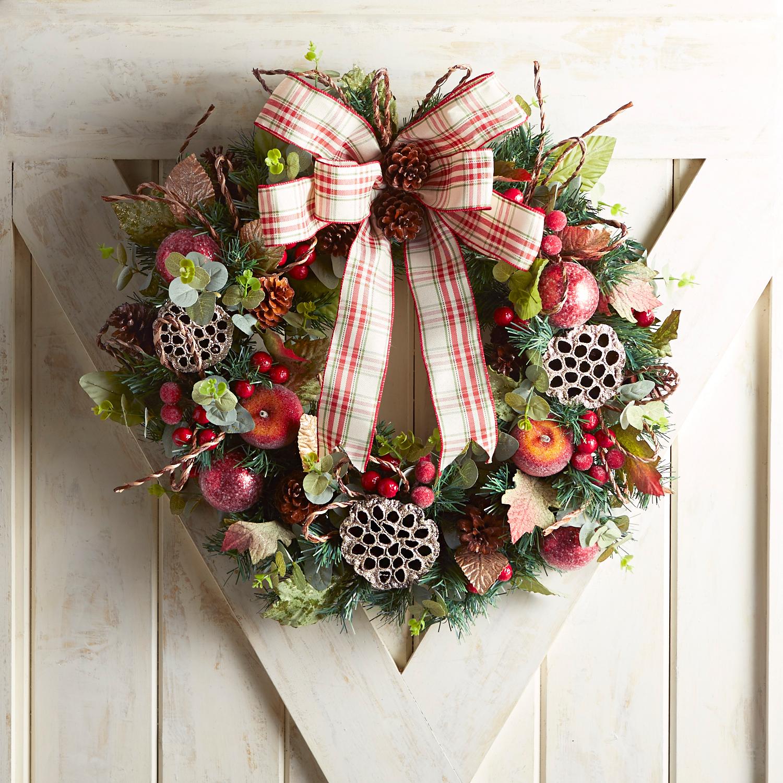"23"" Faux Eucalyptus & Plaid Wreath"