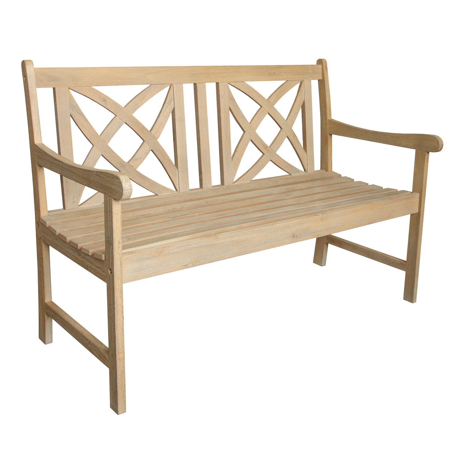 4' Beige Outdoor Garden Bench with Sand-splashed Finish