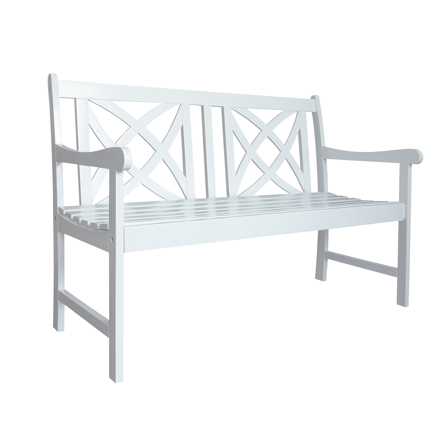 4' White Flower Pattern Back Wood Garden Bench