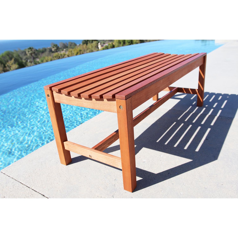 4' Malibu Brown Contour Backless Wood Garden Bench