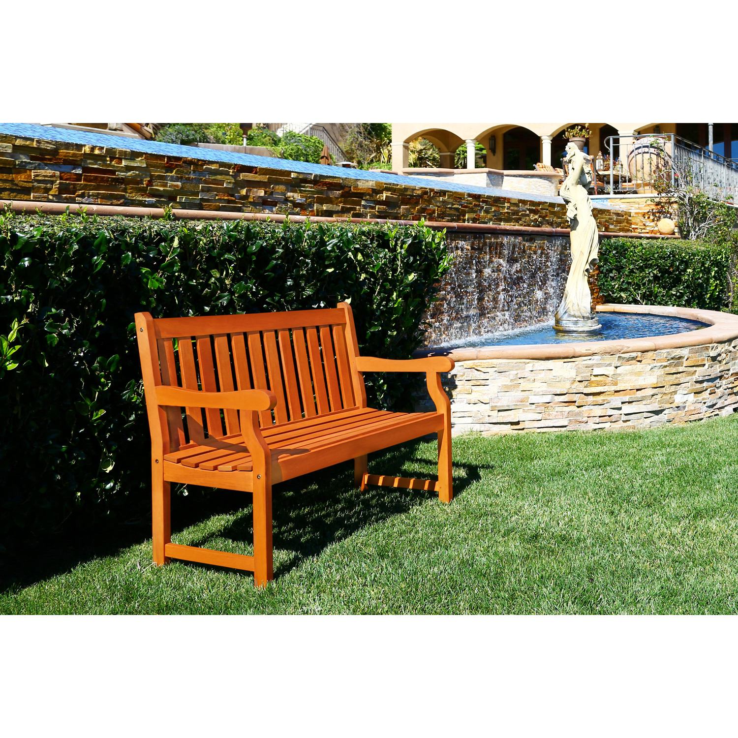 4' Henley Brown Outdoor Wood Garden Bench