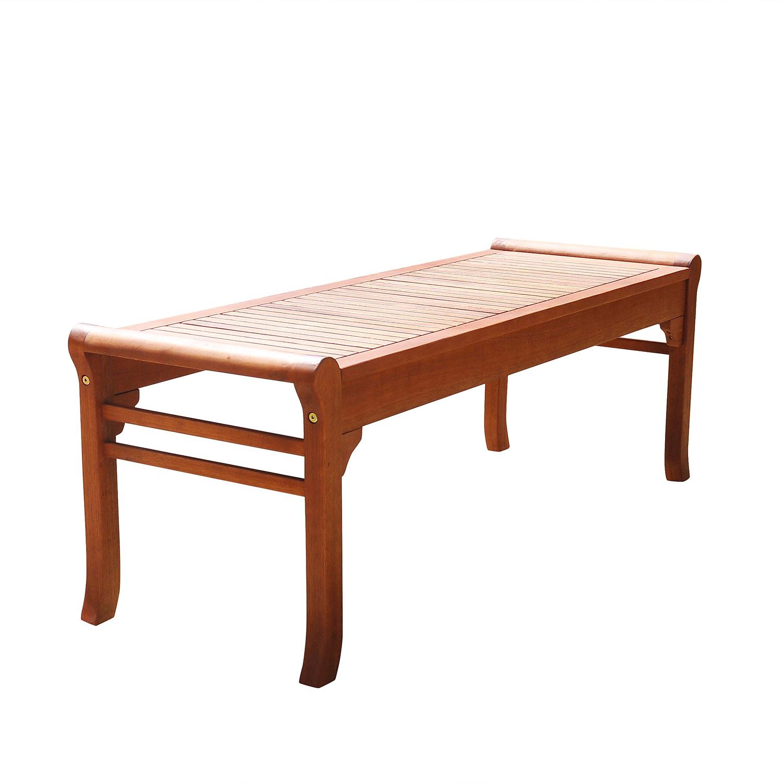 Malibu Brown 4' Traditional Backless Wood Garden Bench