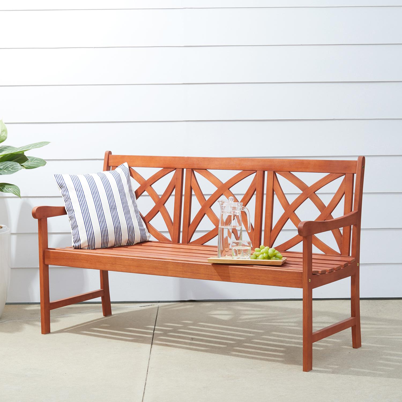 Malibu Brown 5' Flower Pattern Wood Garden Bench
