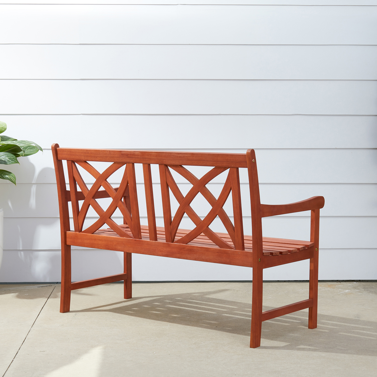 Malibu Brown 4' Flower Pattern Back Wood Garden Bench