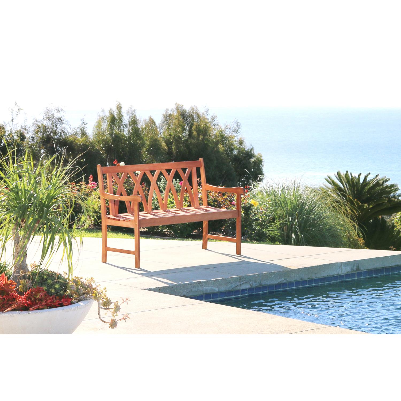 4' Malibu Brown Wood Garden Bench