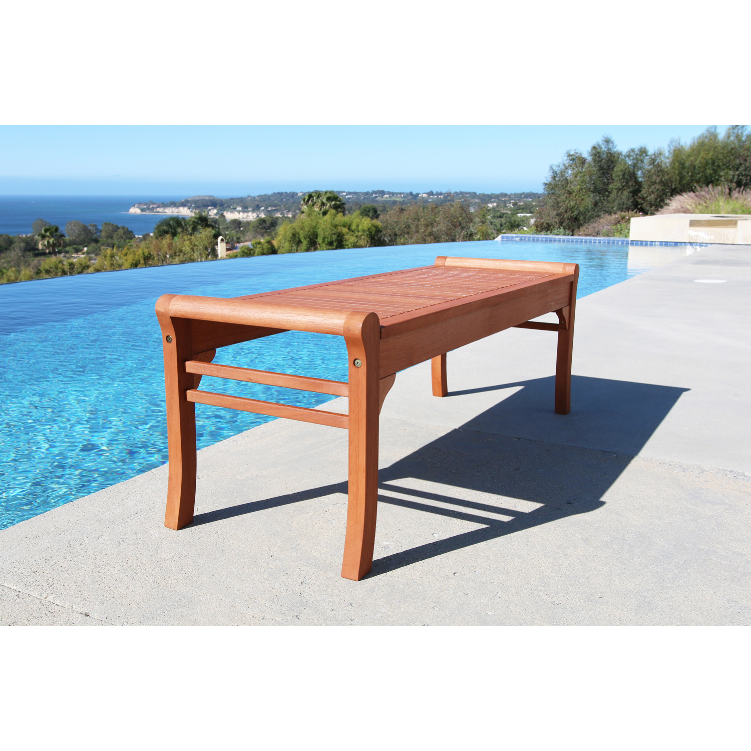 5' Malibu Brown Wood Backless Garden Bench with Curved Edges