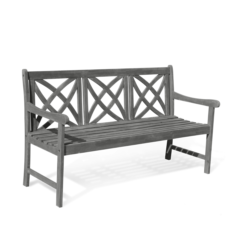 Renaissance 5' Hand-Scraped Wood Flower-Pattern Garden Bench