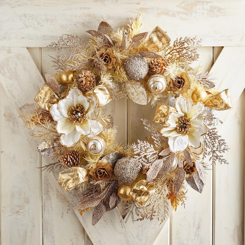 "23"" Glittered Cream Faux Magnolia Wreath"