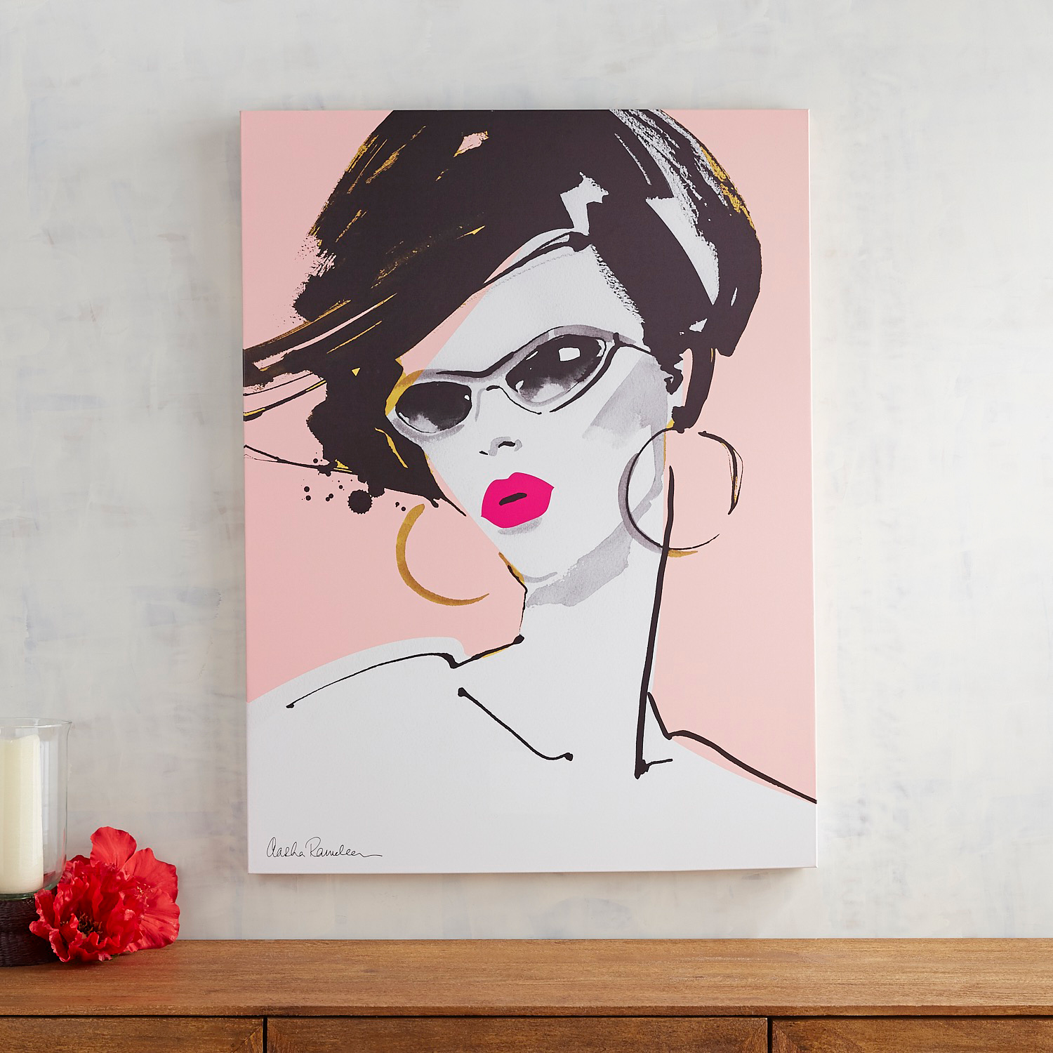 Lady in Glasses Pink Wall Art