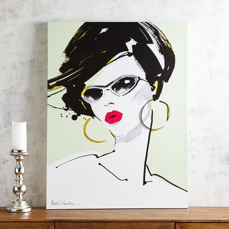 Lady in Glasses Mint Wall Art