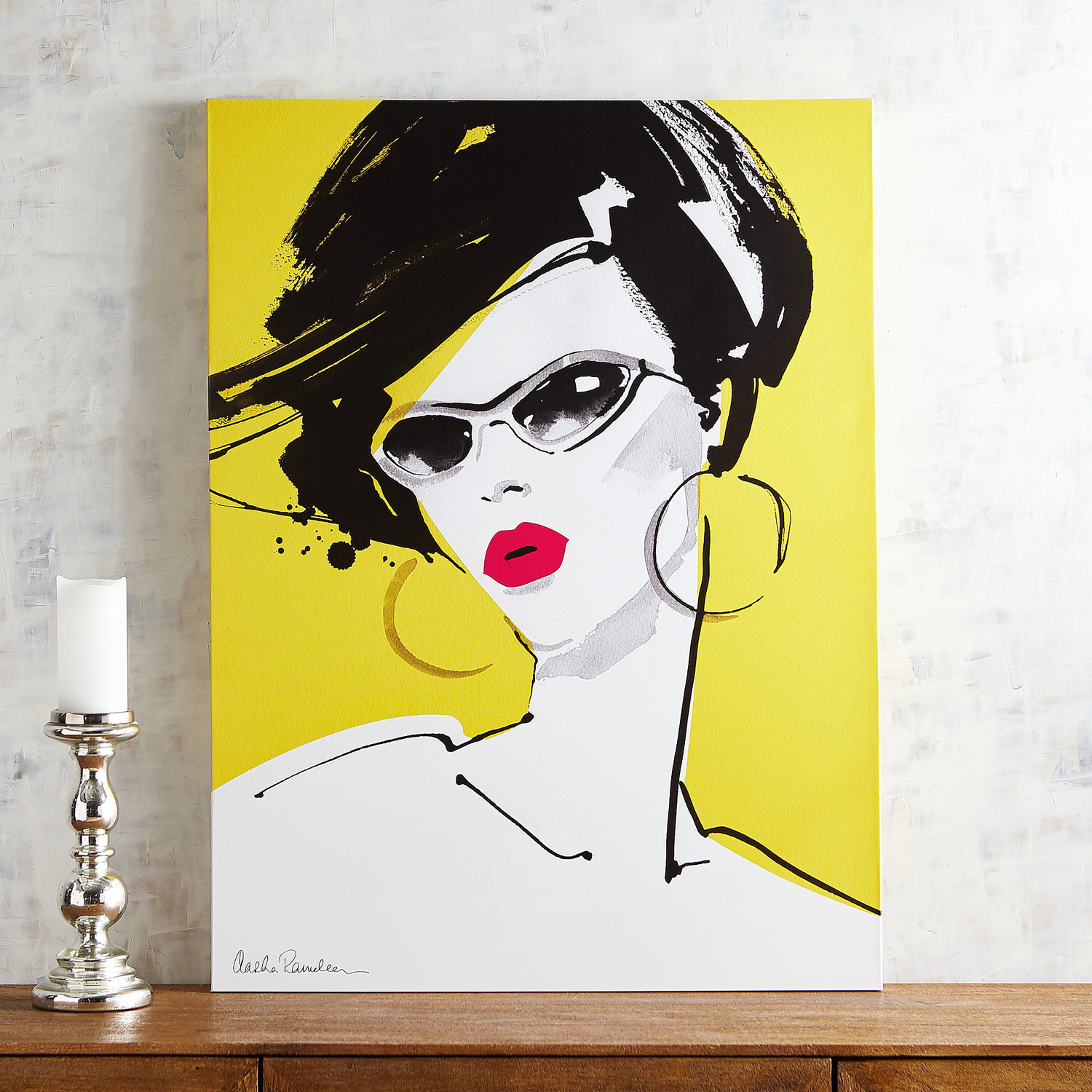 Lady in Glasses Yellow Wall Art