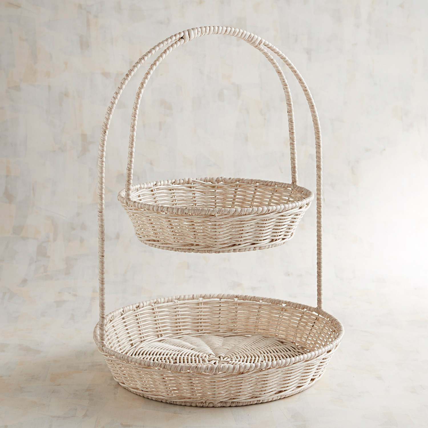 Whitewashed All-Weather Wicker 2-Tiered Server