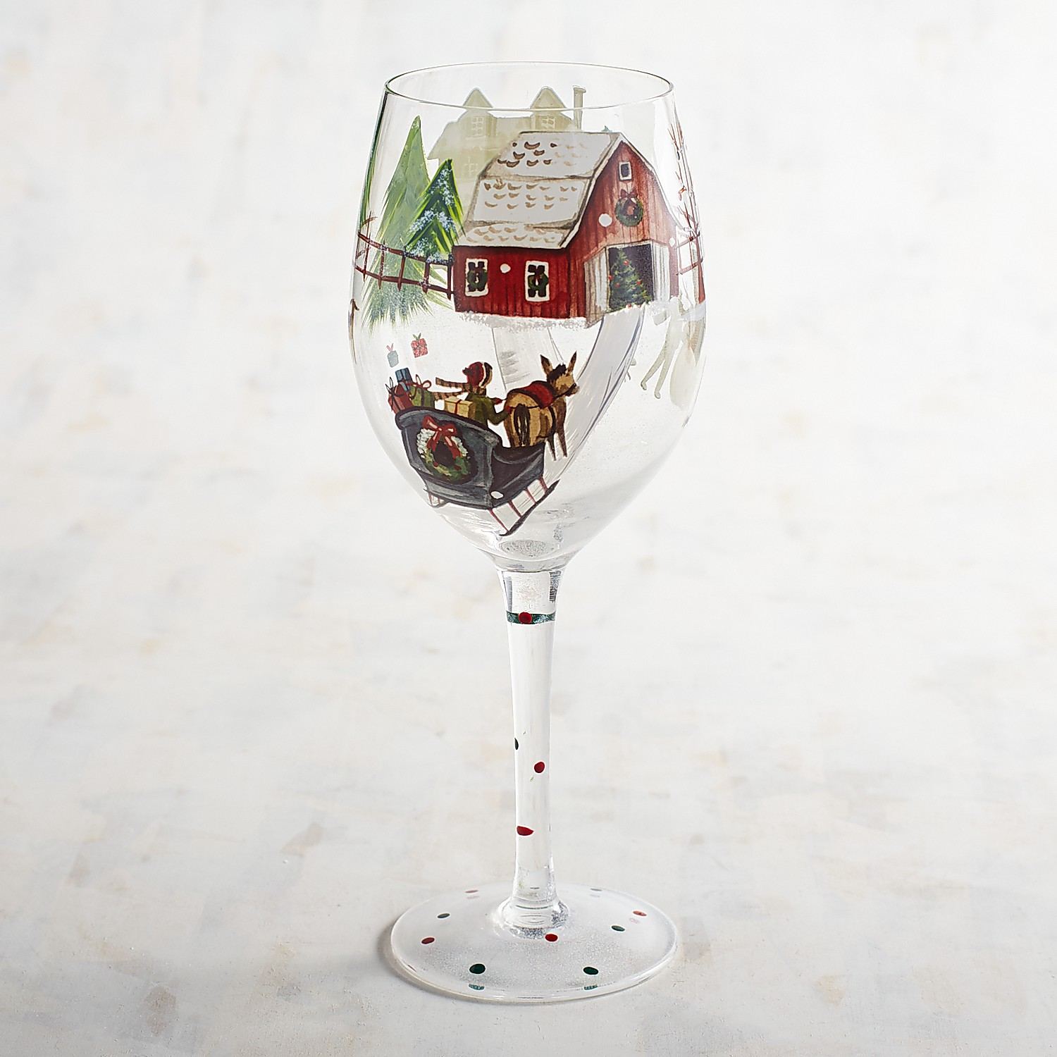 Snowy Day Hand-Painted Wine Glass