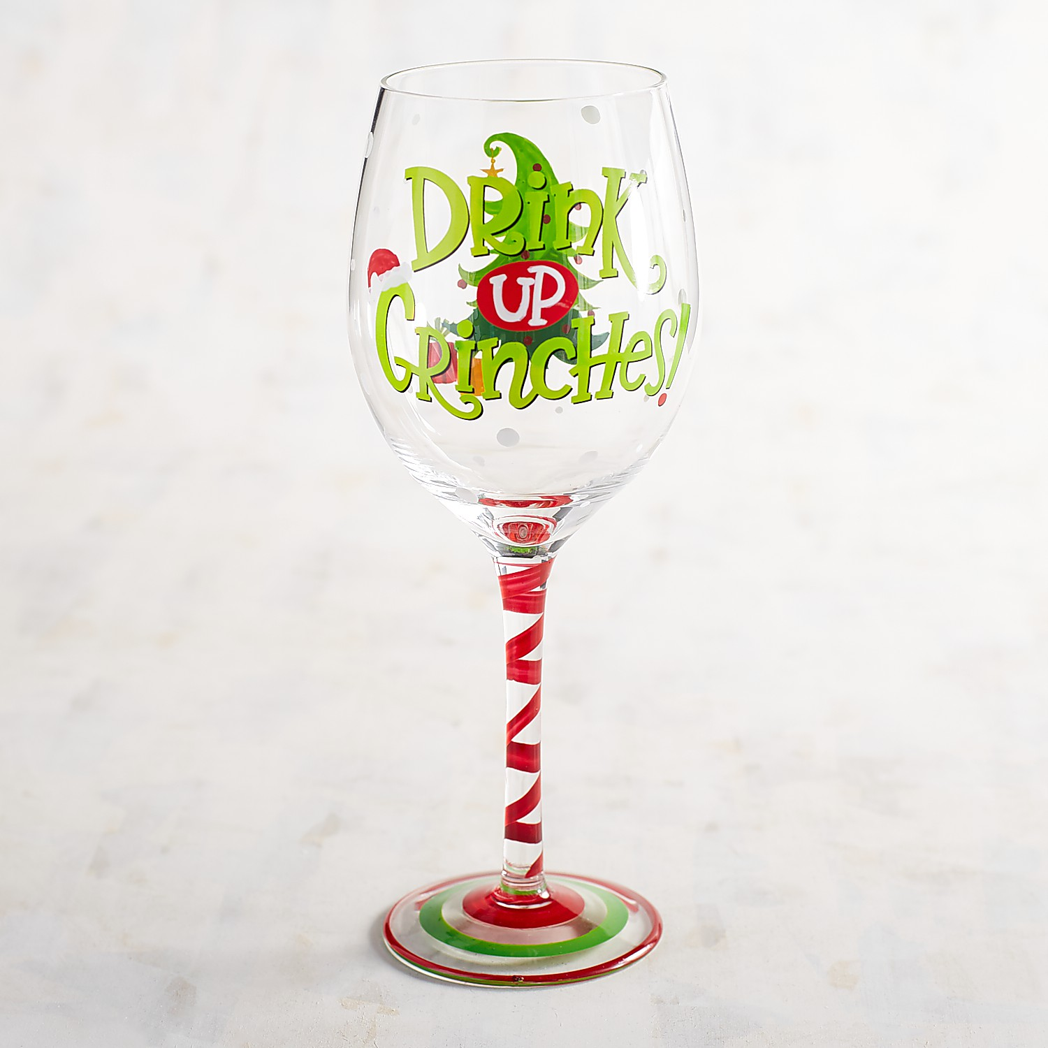 Drink Up Grinches Hand-Painted Wine Glass
