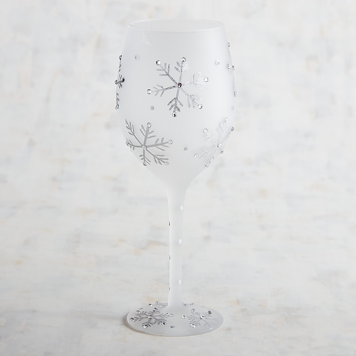 Frosted Snowflake Hand-Painted Wine Glass with Jewels