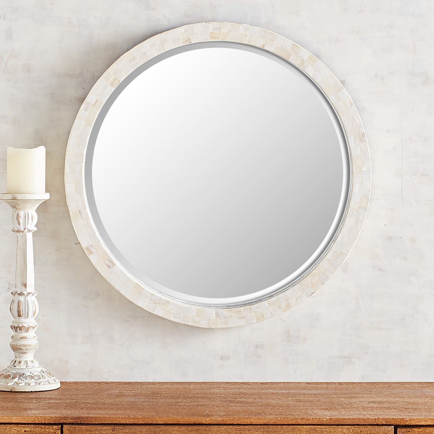 """Simple Round 24"""" Mother-of-Pearl Mirror"""