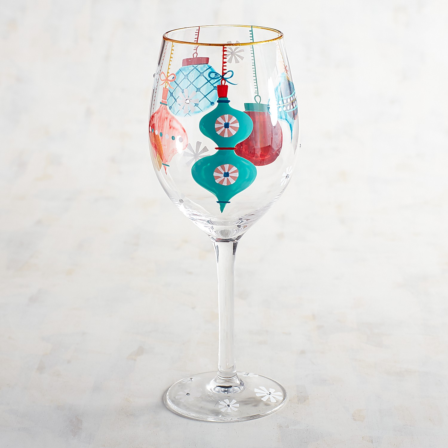 Festive Ornament Hand-Painted Wine Glass