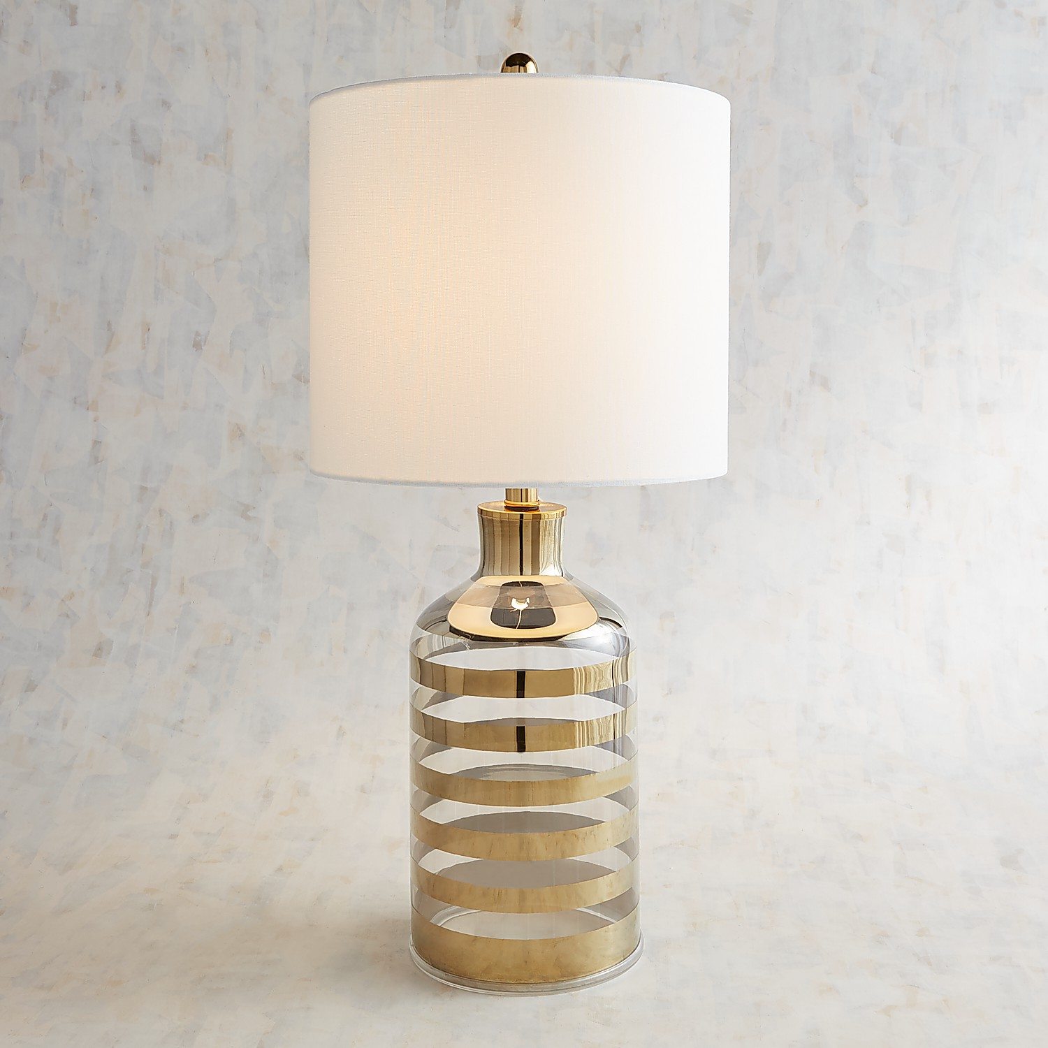 Golden Striped Glass Table Lamp