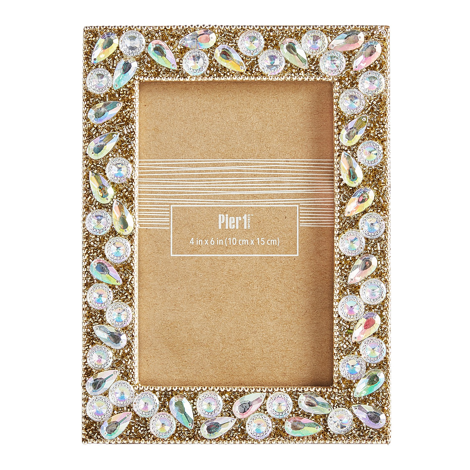 Iridescent Beaded 4x6 Picture Frame
