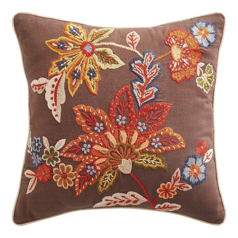 Jacobean Multifloral Gray Pillow