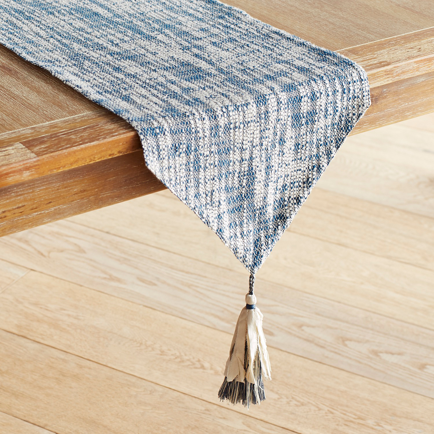 "Woven Blue & Ivory 72"" Table Runner with Tassels"