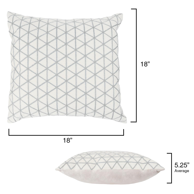 "18"" Ivory & Silver Modern Geometric Throw Pillow"