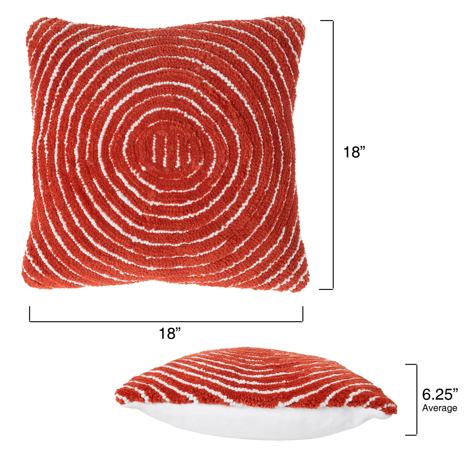 """18"""" Clay Red Modern Concentric Throw Pillow"""
