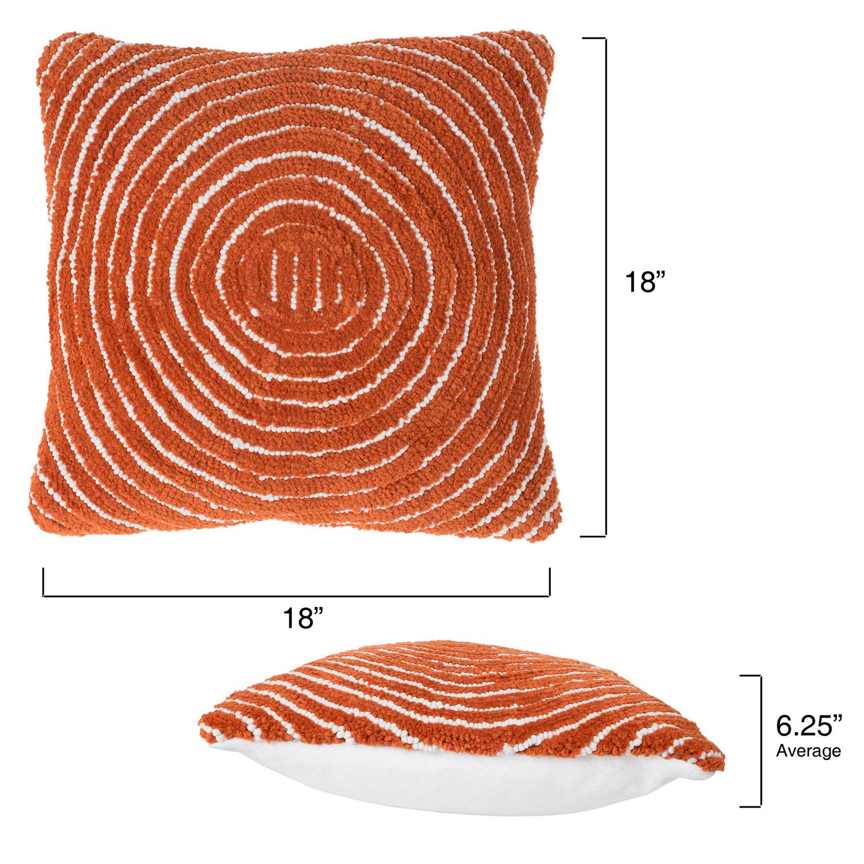 "18"" Burnt Orange Modern Concentric Throw Pillow"