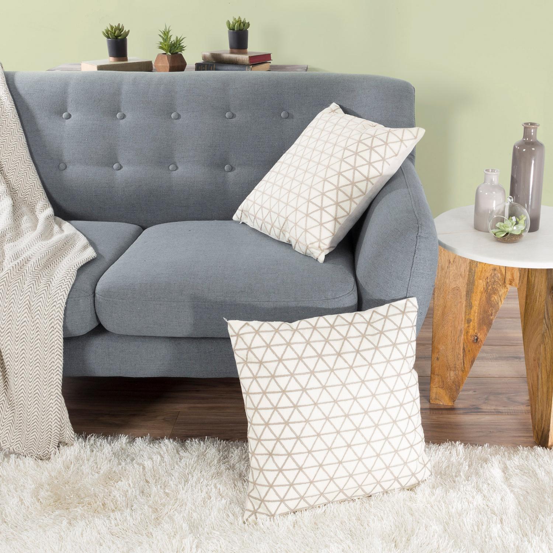 "18"" Ivory & Beige Modern Geometric Decorative Throw Pillow"
