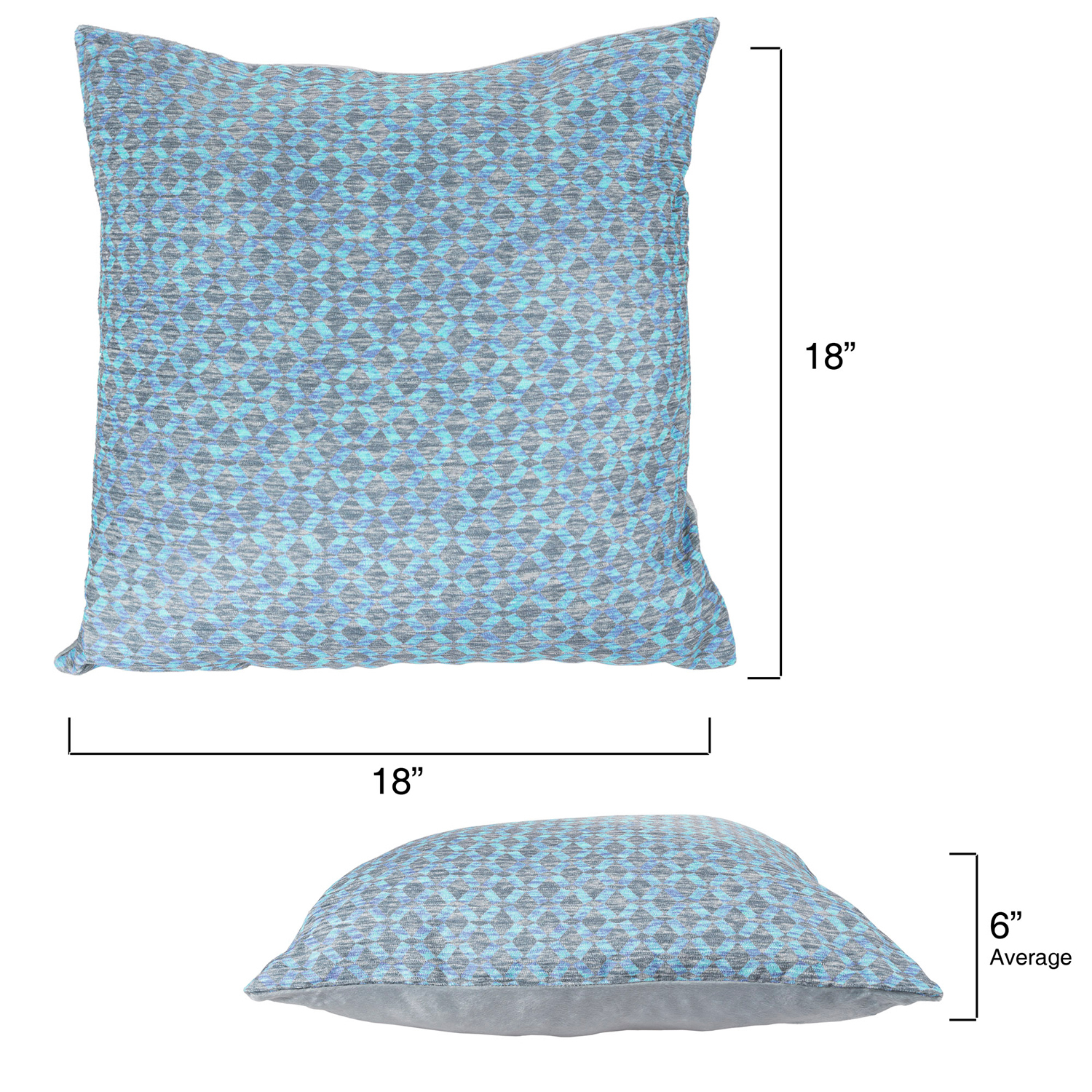 "variation thumbnail of 18"" Dreamy Blue Modern Geometric Textured Throw Pillow"