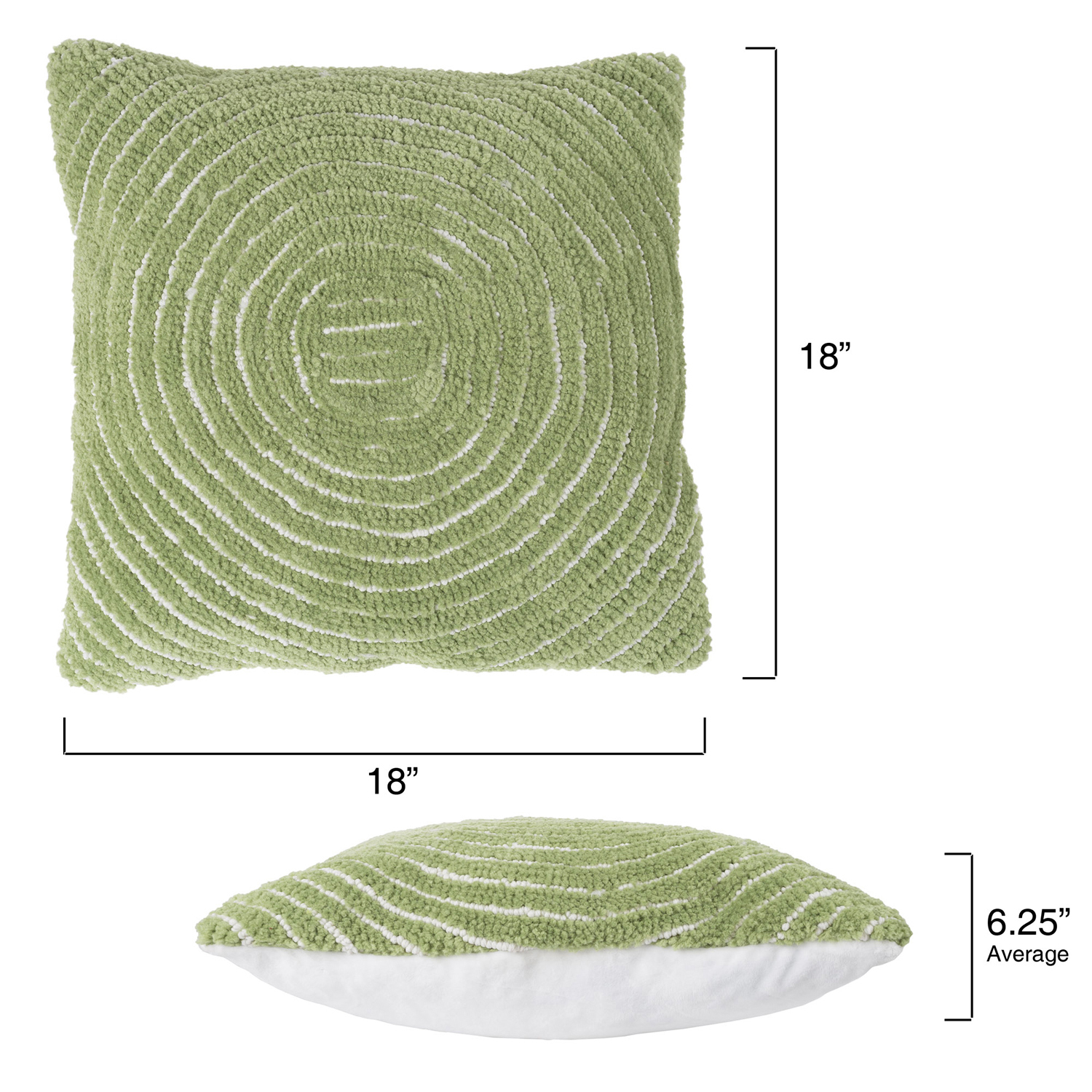 "18"" Leaf Green Modern Concentric Throw Pillow"