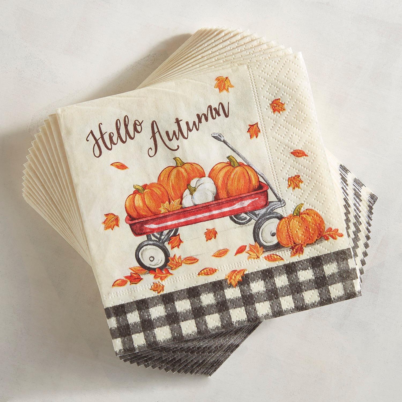Pumpkin Wagon Paper Cocktail Napkins