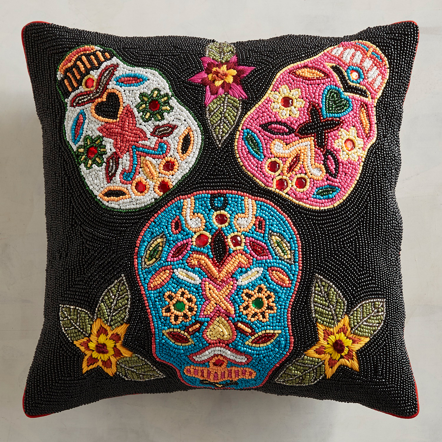 Beaded Day of the Dead Pillow