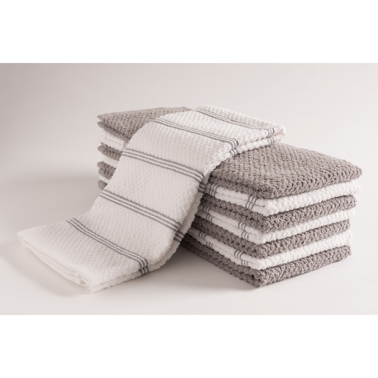 Gray Ultra Absorbent Kitchen Towels Set of 8