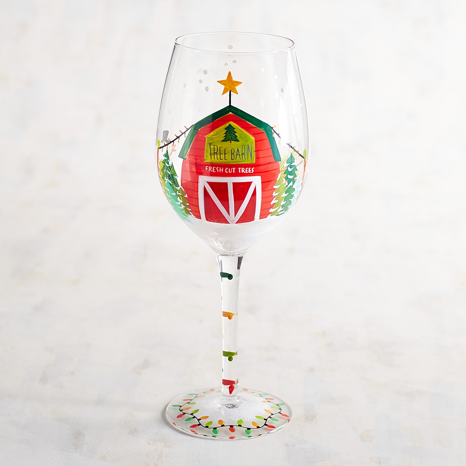 Christmas Tree Barn Hand-Painted Wine Glass