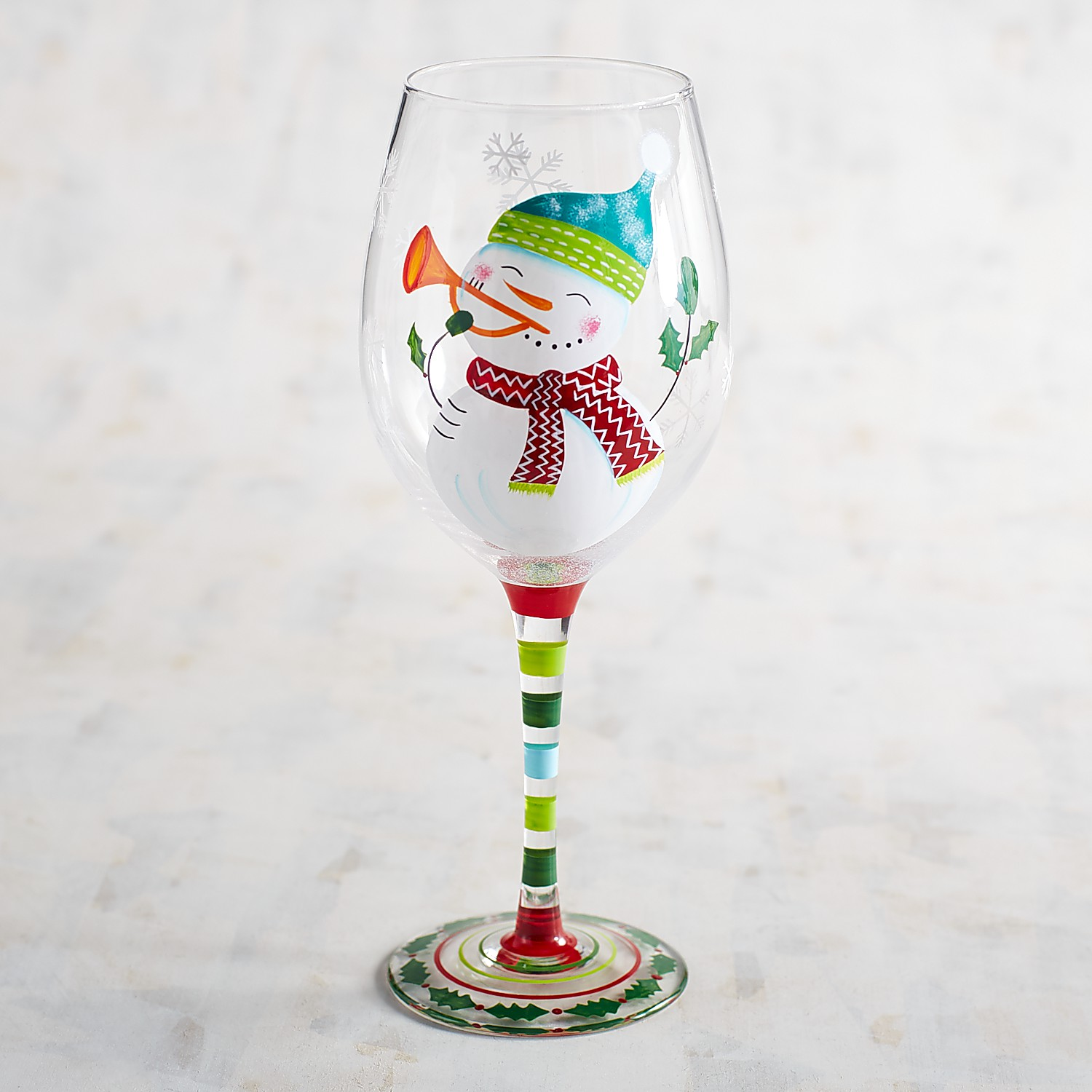 Musical Snowman Hand-Painted Wine Glass