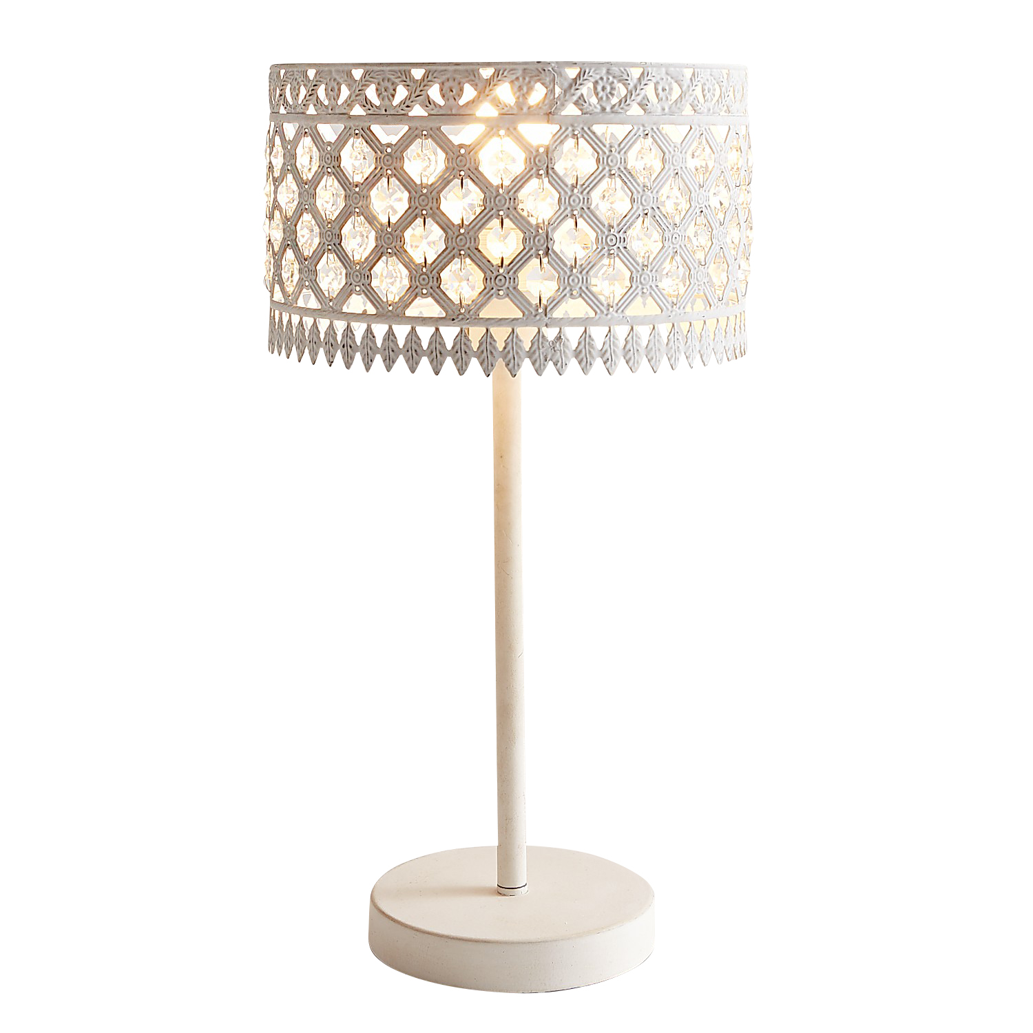 Beaded White Crystal & Metal Table Lamp