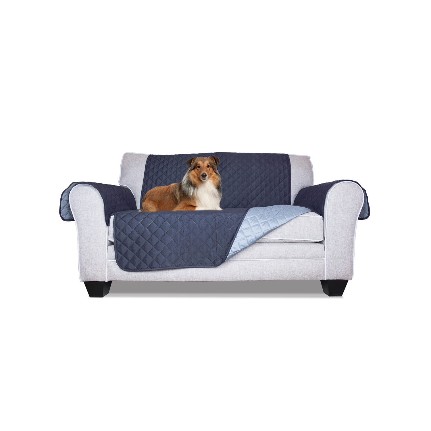 Navy/Light Blue Reversible Loveseat Protector