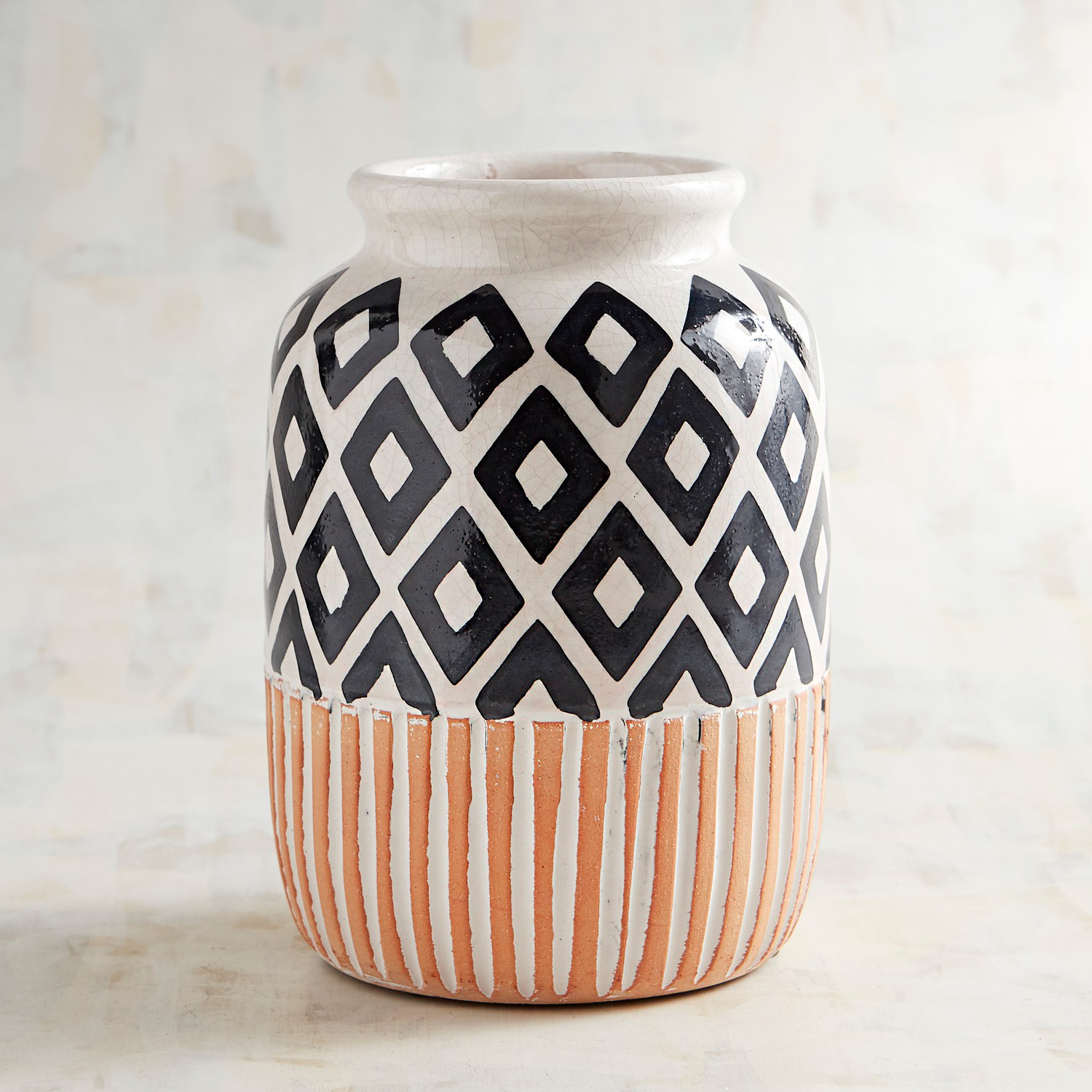 Terracotta Black & White Diamonds & Striped Vase